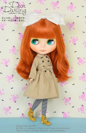 画像1: 【ゆうパケット可】Dear Darling fashion for dolls★フレアトレンチコート/ベージュ