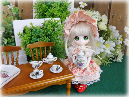 画像3: ミニチュア食器★粉彩葡萄 ティーセット